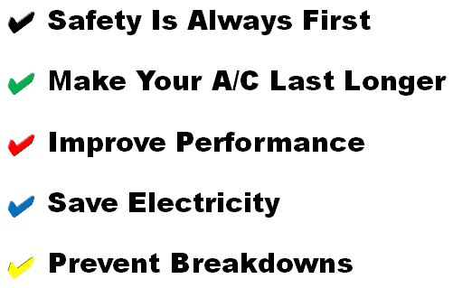 Our A/C servicing objectives include safety, lonvenity, capacity, dependability and efficiency