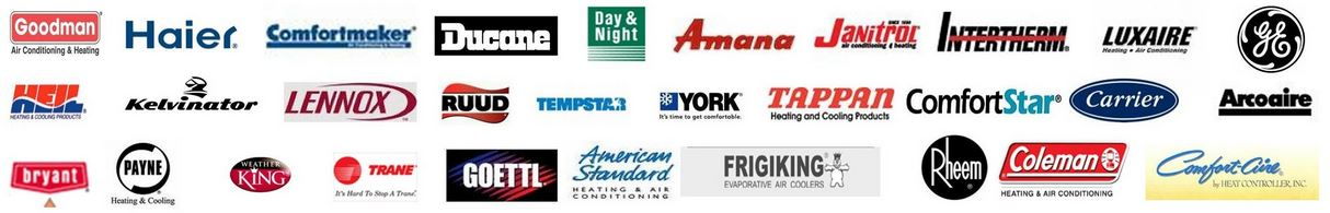 Logos of all the brands of air conditioning and heating equipment we service