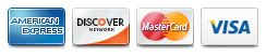 American Express, Discover, Mastercard, Visa cards accepted